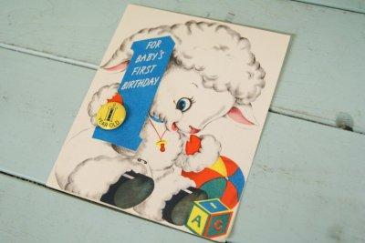 画像1: ☆ビンテージ バッヂ付きバースデーカード☆FOR BABY'SFIRST BIRTHDAY