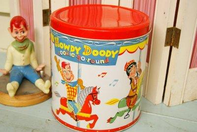 画像1: レア!☆BLUE MAGIC製 HOWDY DOODY ビンテージ クッキー缶☆