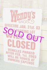 Wendy's☆ビンテージ パーキングサイン☆