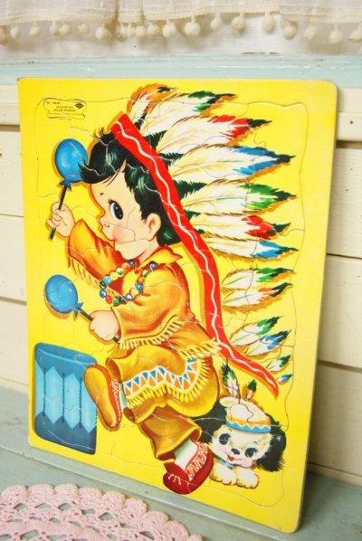 画像1: 大判☆Built Rite Toy ビンテージ パズル☆インディアン